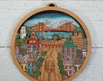 San Francisco City Art, San Francisco Illustration Map Art, San Francisco Mini City by Rylee and Ink, Custom engraving,