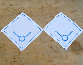 couple mat , handmade embroider, white blue, vintage home decor