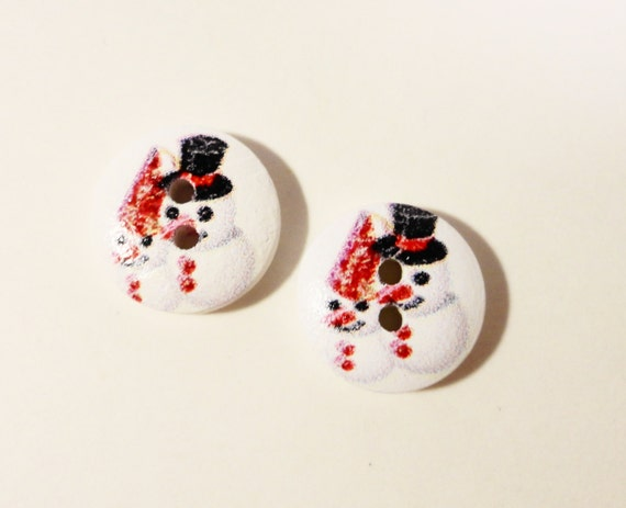 Wood Snowman Buttons 14mm Printed Painted Snow Man Winter Chirstmas Wooden Two (2) Hole Buttons for Sewing, Crafts, and Jewelry Making 10pcs