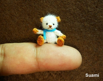 Cute White Bear Blue Bow - Micro Thread Artist Crochet Miniature Mohair Bear - Made To Order
