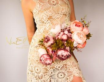 CROCHET Wedding Dress.Crochet dress.Crochet lace dress.Bohemian wedding dress.Beach wedding dress.Boho crochet dress.Wingsleeve dress