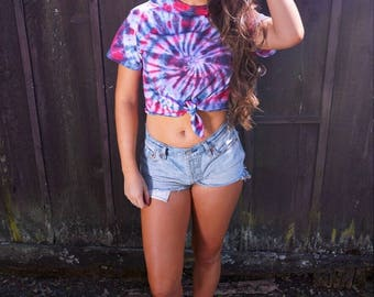Red White Blue Tshirt 4th of July Tie Dye Shirt Women's Fourth of July Tee «« 000POE «