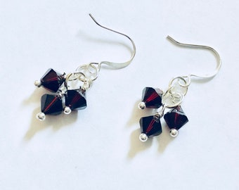 Garnet Swarovski Crystal Cluster Beads Earrings