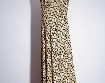 Vtg 90s DITZY Floral MAXI Dress, PERFECTION! Small to Medium