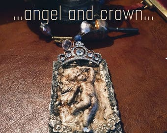 Angel... Pendant welded in silver alloy with cascade of semiprecious stones. soldered jewelry, soldered necklace, angel, clay, sacred.
