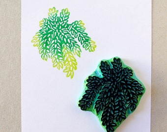 Succulent rubber stamp - hanging succulent stamp - hand carved stamp
