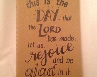 Customized, Handwritten, Small Moleskine Cahier Notebook, Psalm 118:24
