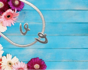 Lowercase 'v' Sterling Silver Charm Necklace With Gift Box