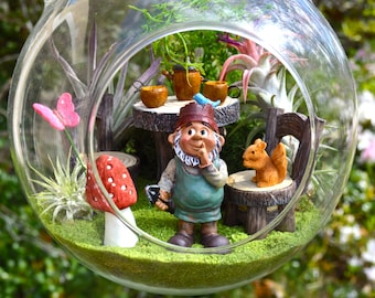 "Garden Gnome Terrarium Kit ~ 8"" Air Plant Terrarium Kit ~ Table and Chairs ~ Gnome Figure ~ Sand and Animal Choice ~ Gardening ~ Gift Idea"