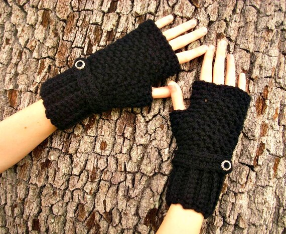 Crocheted Fingerless Gloves Mittens - Black Fingerless Gloves Black Gloves Black Mittens - Womens Accessories