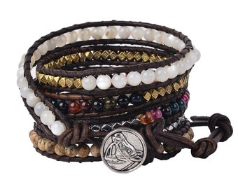 Leather wrap bracelet India Agate bead bracelet women boho bead wrap bracelet leather bracelet gemstone bracelet natural stone Jewelry
