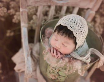 Maybel Bonnet, Newborn Knitting Pattern, Newborn Knitting Photography Prop Pattern, Lace Bonnet Pattern, Dainty newborn bonnet pattern