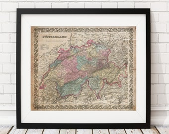 Switzerland Map Print, Vintage Map Art, Antique Map, Office Wall Art, Map of Switzerland, Old Maps, Switzerland Poster, History Buff Gifts