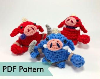 Bokoblins from Legend of Zelda Crocheted Amigurumi Finger Puppet PDF Pattern