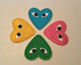 1 x badge embroidered - heart love romantic - choice of color - A stick or sew