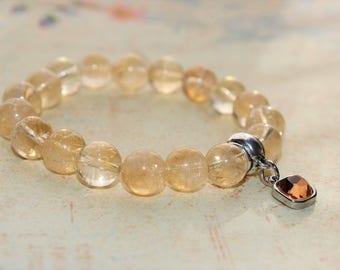 November Birthstone Bracelet - Citrine Bracelet - Prosperity Bracelet - Gemstone Jewelry - Stretchable Bracelet - Handmade Yoga Bracelet