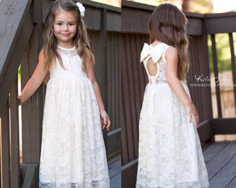 Ready to Ship- Ivory Lace Keyhole Sweetheart Dress- Flower Girl, Wedding, Girl, Toddler, country, rustic dress, summer, fall, spring