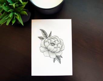Peony Dotwork Flower Botanical 5x7 Print