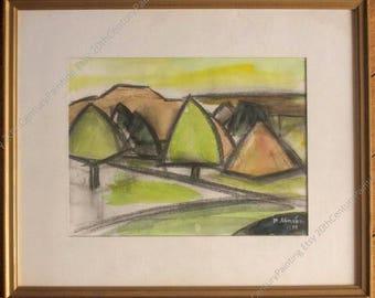 Stylized landscape, 1975 - Original mixed media on paper - Romanian Artist