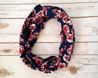 Infinity Scarf, Rust Poppies on Navy