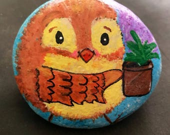 Springtime Bird With Lilacs Painted Rock, Collectible, Art, Home Decor & Gift