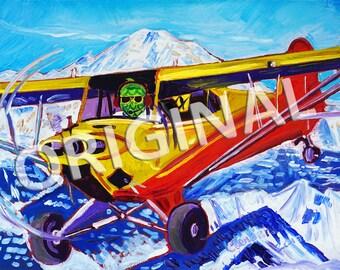 Alaska Super Cub Bush Airplane, Aviation Plane Painting, Pilot Beer Gift, Beer Hops Art, Beer Parody, Funny Beer Gift, Denali, Mt. McKinley