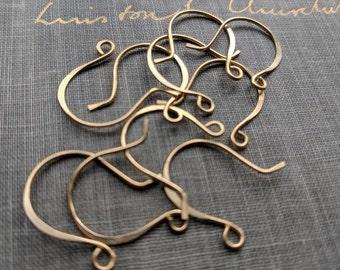 raw brass ear wires- handmade ear wires, brass earring components, brass earring hooks, gold ear wires, forged ear wires, raw brass findings