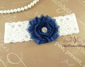 Bridal Garter, Wedding KeepSake Shabby Chiffon Rosette Navy Blue Garter, Garter set, Garter belt, Purple Garter, lace garter GFK0001NB