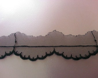 3 Metres French Black Solstiss Lace Trim Sewing 25mm 2.5cm Width