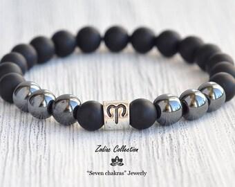8mm Zodiac bracelet - 8mm charm bracelet, mens birthday gift, black onyx hematite bracelet, zodiac gift, gemstone bracelet, Zodiac Jewelry