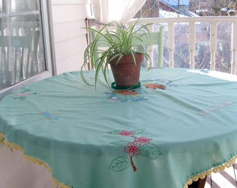 Green Tablecloth Embroidered Pussy Willows Flowers Vintage Tablecloth, Shabby French, Romantic Home, by mailordervintage on etsy
