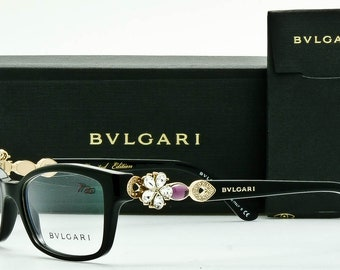 New BVLGARI 4058-B Women's Eyeglass Frame-Polished Black Swarovski Crystals-53mm