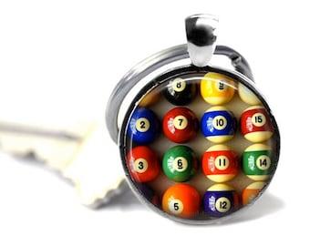 Billiard ball keyring pool ball key chain groomsman gift pool keychain key ring.