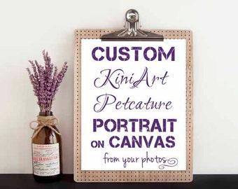 Custom Canvas PAINTING Medium LG KiniArt Pet Portrait Art