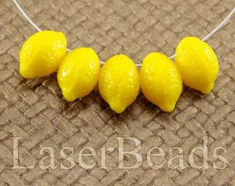 Lemon beads 12pc 14mm Yellow lemon fruits Opaque Yellow Czech glass teardrop beads Bright yellow beads Tear drop beads Top drilled last