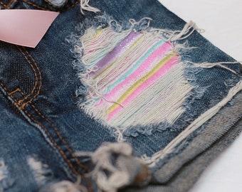 Pastel glitter rainbow distressed shorts
