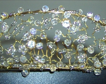 Handcrafted Crystal Twisted Wire Tiara, available in gold or silver.