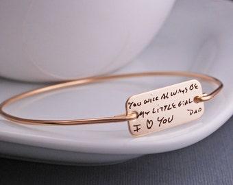 Gold Custom Handwriting Bracelet, Personalized Handwriting Bracelet, Engraved Bracelet, Gift from Dad
