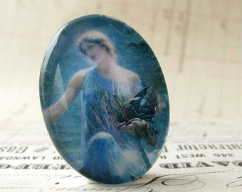 Valkyrie, handmade glass oval cabochon, 40x30 30x40 40x30mm 30x40mm 40 30 mm, Mykonos blue, woman, mythology, Magical Maidens collection