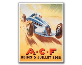 Vintage Travel Art Race Car Poster Sports Decor Art Retro Decor Print (H13)