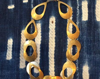 1970s Mixed Metal Geometric Brass Necklace