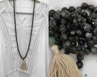 8mm Labradorite Mala, Knotted Mala, Tassel Necklace, Yoga Beads, Yoga Necklace, Meditation Beads, Meditation, 108 Beaded Mala, Boho Necklace