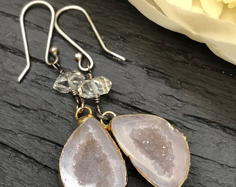 Geode and Herkimer Diamond Earrings