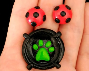 Miraculous Ladybug earrings and Chat Noir ring (also clip earrings available, please read description)