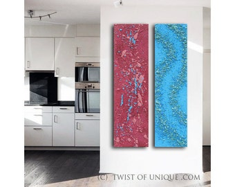 Zen Garden abstract painting / ORIGINAL abstract painting/ Textured Art / 2 set of paintings/48x12 /Mauve, blue, Purple, electric blue