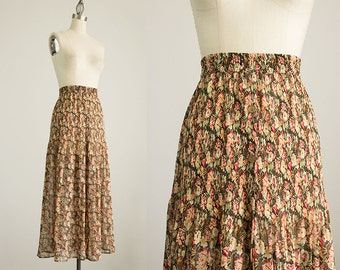 90s Vintage Floral Print Crinkle Button Down Maxi Skirt / Size Medium