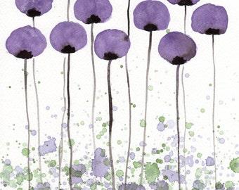 Watercolor Painting: Watercolor Flower Painting -- Art Print --  A Bit Shy -- Purple Flowers -- 11x14
