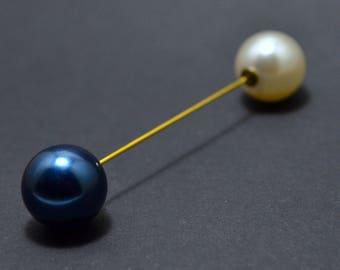 Blue pearl pin brooch