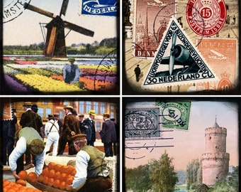 Digital collage sheet PLUS 4 separate JPG files Holland Amsterdam Netherlands World Tour large 4-inch squares coasters, tags -- piddix 898b