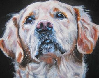 "Golden Retriever Dog art CANVAS print of L.A.Shepard painting 12x16"" dog portrait"